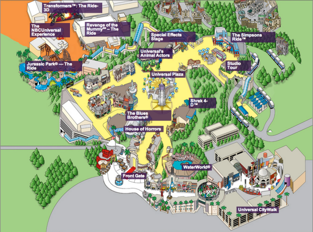 Universal Studios Hollywood Park Map 2014