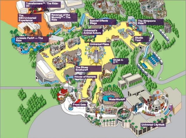 Universal Studios Hollywood Park Map 2014